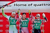 Alpint<br /> FIS World Cup<br /> Foto: Gepa/Digitalsport<br /> NORWAY ONLY<br /> <br /> HINTERSTODER,AUSTRIA,27.FEB.16 - ALPINE SKIING - FIS World Cup, Super G, men, award ceremony. Image shows Bostjan Kline (SLO), Aleksander Aamodt Kilde (NOR) and Marcel Hirscher (AUT).