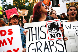 Protesters in opposition to Donald Trump's misogyny congregate and chant near the intersection of Wabash Avenue and Wacker Drive outside of Trump Tower on Tuesday, October 18, 2016 in Chicago, IL, USA. Photo by Jose M. Osorio/Chicago Tribune/TNS/ABACAPRESS.COM