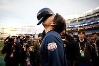 Yankees designated hitter Hideki Matsui during batting practice  up prior to Game 2 of the 2009 World Series between the New York Yankees and The Philadelphia Phillies in Bronx, NY. (Photo by Robert Caplin)..