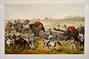 Advance of the Siege Train Lithograph from the book Campaign in India 1857-58 Illustrating the military operations before Delhi ; 26 Hand coloured Lithographed plates. by George Francklin Atkinson Published by Day & Son Lithographers to the Queen in 1859