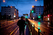 "The tram stop ""Biskupcova"" street in Prague Zizkov during an early morning and after the Coronavirus pandemic (COVID-19) outbreak - pictured on the 11th of March 2020."