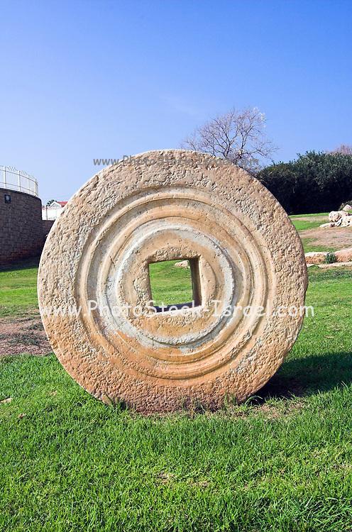 Herzliya city park, with ancient grindstones on display