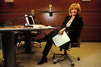 España. Madrid.<br /> Retrato de la periodista Nieves Herrero en su estudio de RNE.<br /> <br /> ©JOAN COSTA