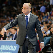 Anadolu Efes's coach Dusan Ivkovic during their Turkish Airlines Euroleague Basketball PlayOffs Round 3 match Anadolu Efes between Real Madrid at Abdi ipekci arena in Istanbul, Turkey, Tuesday April 21, 2015. Photo by Aykut AKICI/TURKPIX