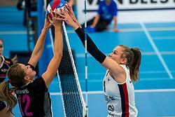 29-09-2018 NED: Supercup Sliedrecht Sport - Eurosped, Sliedrecht<br /> Sliedrecht takes the first price of the new season / Rochelle Wopereis #12 of Eurosped, Sarah van Aalen #9 of Sliedrecht Sport