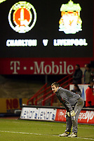 Photo: Chris Ratcliffe.<br />Charlton Athletic v Liverpool. The Barclays Premiership. 08/02/2006.<br />Jerzy Dudek of Liverpool warms up before the game.