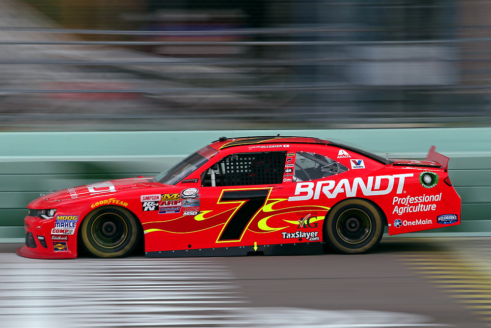Nov 19, 2016; Homestead, FL, USA; NASCAR Xfinity Series driver Justin Allgaier (7) during the Ford Ecoboost 300 at Homestead-Miami Speedway. Mandatory Credit: Peter Casey-USA TODAY Sports
