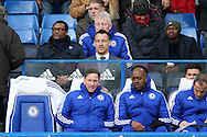 John Terry, the Chelsea captain ©  looks on as he sits watching the game from behind the dugout. Barclays Premier league match, Chelsea v Stoke city at Stamford Bridge in London on Saturday 5th March 2016.<br /> pic by John Patrick Fletcher, Andrew Orchard sports photography.