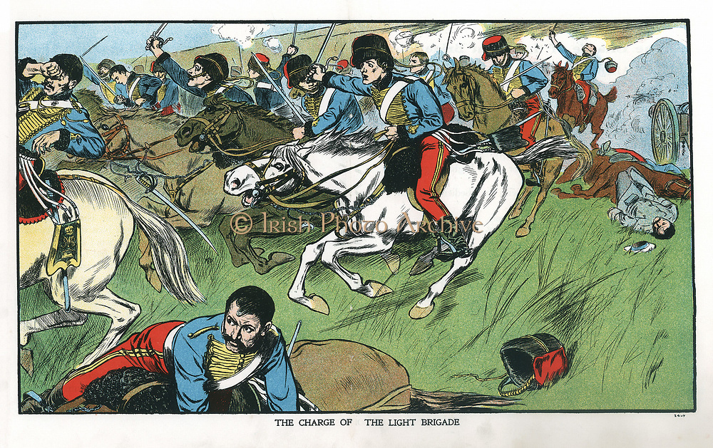 Crimean (Russo-Turkish) War 1853-1856. Charge of the Light Brigade at Balaclava, 15 October, 1854. Lord Raglan gave order for the disastrous British charge. Immortalised in Tennyson's poem. Early 20th century colour-printed lithograph.