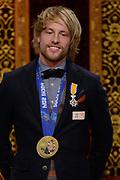 Officiele Huldiging van de Olympische medaillewinnaars Sochi 2014 / Official Ceremony of the Sochi 2014 Olympic medalists.<br /> <br /> Op de foto:  Michel Mulder krigt de onderscheiding van Ridder in de Orde van Oranje-Nassau