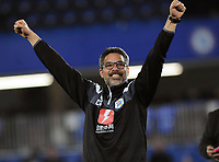 Football - 2017 / 2018 Premier League - Chelsea vs. Huddersfield Town<br /> <br /> Huddersfield Manager, David Wagner, shows his delight at the final whistle after surviving in the Premiership for next season at Stamford Bridge.<br /> <br /> COLORSPORT/ANDREW COWIE