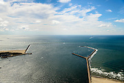 Nederland, Noord-Holland, IJmuiden, 01-08-2016; monding van het Noordzeekanaal met Noordelijke en Zuidelijke havendam.<br /> Mouth of the North sea canal.<br />  <br /> luchtfoto (toeslag op standard tarieven);<br /> aerial photo (additional fee required);<br /> copyright foto/photo Siebe Swart