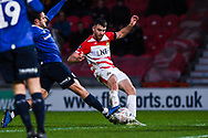 Ben Whiteman of Doncaster Rovers (8) scores a goal to make the score 1-0 during the The FA Cup fourth round match between Doncaster Rovers and Oldham Athletic at the Keepmoat Stadium, Doncaster, England on 26 January 2019.