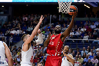 Real Madrid's Jeffery Taylor and Crvena Zvezda Mts Belgrade's Charles Jenkins during Turkish Airlines Euroleague match between Real Madrid and Crvena Zvezda Mts Belgrade at Wizink Center in Madrid, Spain. March 10, 2017. (ALTERPHOTOS/BorjaB.Hojas)