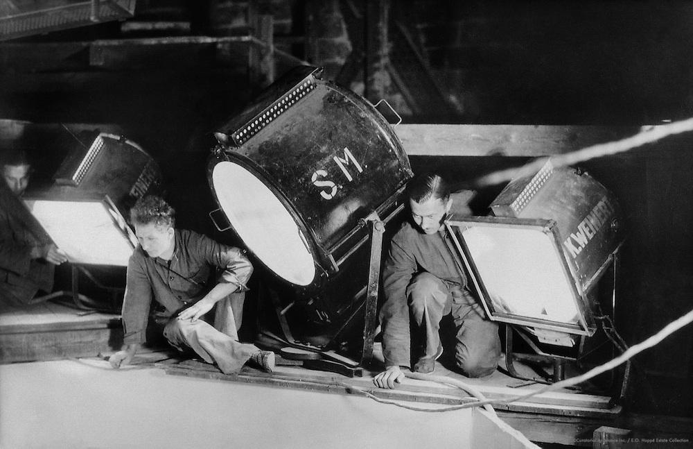 Three Spotlights with Stagehands, UFa Studios, Potsdam-Babelsberg, 1928
