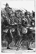 Franco-Prussian War 1870-1871. A Landwehr regiment of the Prussian army on the march led by drummer. Wood engraving, September 1870.