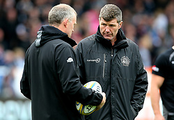 Exeter Chiefs' Director of Rugby Rob Baxter (right) chats with Forwards Coach Rob Hunter during the Aviva Premiership match at Sandy Park, Exeter. PRESS ASSOCIATION Photo. Picture date: Saturday April 28, 2018. See PA story RUGBYU Exeter. Photo credit should read: Mark Kerton/PA Wire. RESTRICTIONS: Editorial use only. No commercial use.