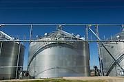 Grain silos used to store rice in rural Elton, Louisiana.