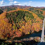 Aerial panorama of autumn foliage in southern Hokkaido, Japan