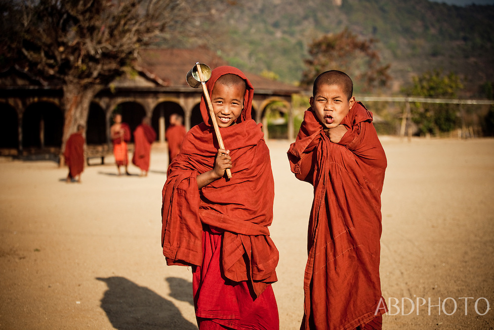 monks at wai gyi monastery kalaw myanmar burma