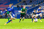 PENALTY MISS Cardiff City's Robert Glatzel (9) misses a penalty during the EFL Sky Bet Championship match between Cardiff City and Birmingham City at the Cardiff City Stadium, Cardiff, Wales on 16 December 2020.