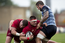 September 30, 2017 - Limerick, Ireland - CJ Stander and Dave Kilcoyne of Munster in action with Josh Turnbull of Cardiff during the Guinness PRO14 Conference A Round 5 match between Munster Rugby and Cardiff Blues at Thomond Park in Limerick, Ireland on September 30, 2017  (Credit Image: © Andrew Surma/NurPhoto via ZUMA Press)
