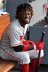 May 31, 2018 - Los Angeles, CA, U.S. - LOS ANGELES, CA - MAY 31: Philadelphia Phillies Center field Odubel Herrera (37) looks on from the dugout during a MLB game between the Philadelphia Phillies and the Los Angeles Dodgers on May 31, 2018 at Dodger Stadium in Los Angeles, CA. (Photo by Brian Rothmuller/Icon Sportswire) (Credit Image: © Brian Rothmuller/Icon SMI via ZUMA Press)