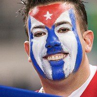 18 March 2009: A fan poses as he cheers for Team Cuba during the 2009 World Baseball Classic Pool 1 game 5 at Petco Park in San Diego, California, USA. Japan wins 5-0 over Cuba.