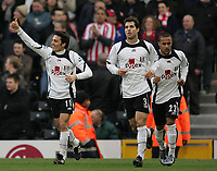 Photo: Lee Earle.<br /> Fulham v Stoke City. The FA Cup. 27/01/2007.Fulham's Vincenzo Montella (L) celebrates after scoring their opening goal.