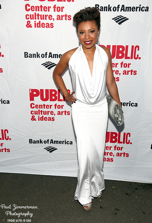 """NEW YORK, NY - AUGUST 12:  Shalita Grant attends the opening night of """"Love's Labour's Lost"""" at the Delacorte Theater on August 12, 2013 in New York City.  (Photo by Paul Zimmerman/WireImage)"""