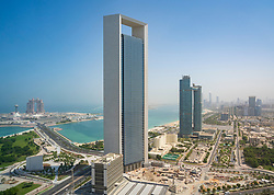 View of office tower of ADNOC and Corniche in Abu Dhabi, UAE, United Arab Emirates,