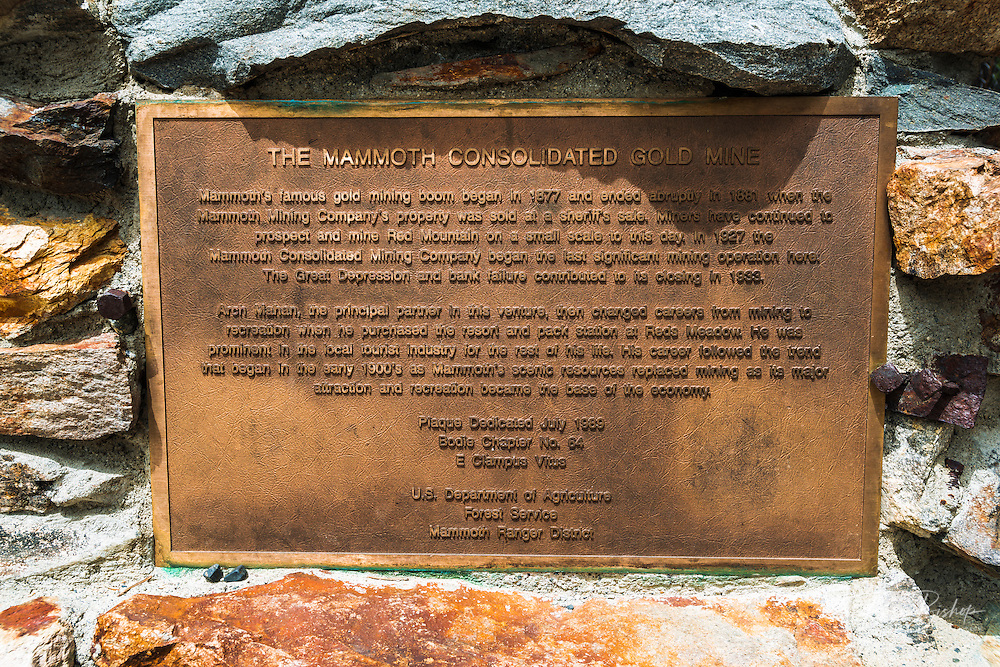 Historic plaque at the Mammoth Consolidated Gold Mine, Inyo National Forest, Mammoth Lakes, California USA