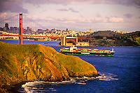 The Marin Headlands and the Golden Gate Bridge (San Francisco in background), California USA