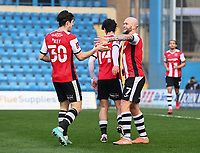 Football - 2020 / 2021 Emirates FA Cup - Round 2 - Gillingham vs Exeter City - Priestfield Stadium<br /> <br /> Exeter City's Nicholas Law celebrates scoring the opening goal with Exeter City's Josh Key.<br /> <br /> COLORSPORT/ASHLEY WESTERN