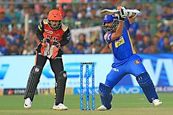 April 29, 2018 - Jaipur, Rajasthan, India - Rajasthan Royals batsman Ajinkya Rahane plays a shot during the IPL T20 match against Sunrisers  Hyderabad at Sawai Mansingh Stadium in Jaipur on 29th April,2018. (Credit Image: © Vishal Bhatnagar/NurPhoto via ZUMA Press)