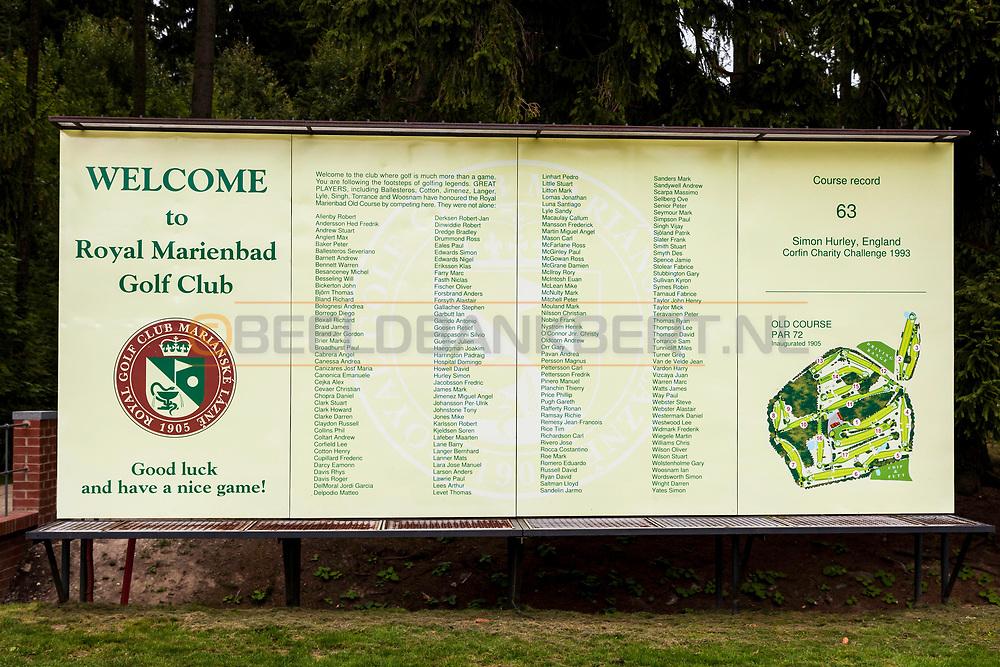 20-09-2015: Royal Golf Club Marianske Lazne in Marianske Lazne (Marienbad), Tsjechië.<br /> Foto: Welkomst- en informatiebord