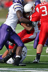 27 October 2007: Jason Williams puts an end to the run by Geno Blow. The Western Illinois Leathernecks beat up on the Illinois State Redbirds  27-14 at Hancock Stadium on the campus of Illinois State University in Normal Illinois.