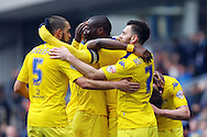 Souleymane Bamba of Leeds United (c) celebrates with his teammates after scoring his teams 1st goal. Skybet football league Championship match, Blackburn Rovers v Leeds United at Ewood Park in Blackburn, Lancs on Saturday 12th March 2016.<br /> pic by Chris Stading, Andrew Orchard sports photography.