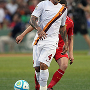 Radja Nainggolan, Roma, in action during the Liverpool Vs AS Roma friendly pre season football match at Fenway Park, Boston. USA. 23rd July 2014. Photo Tim Clayton