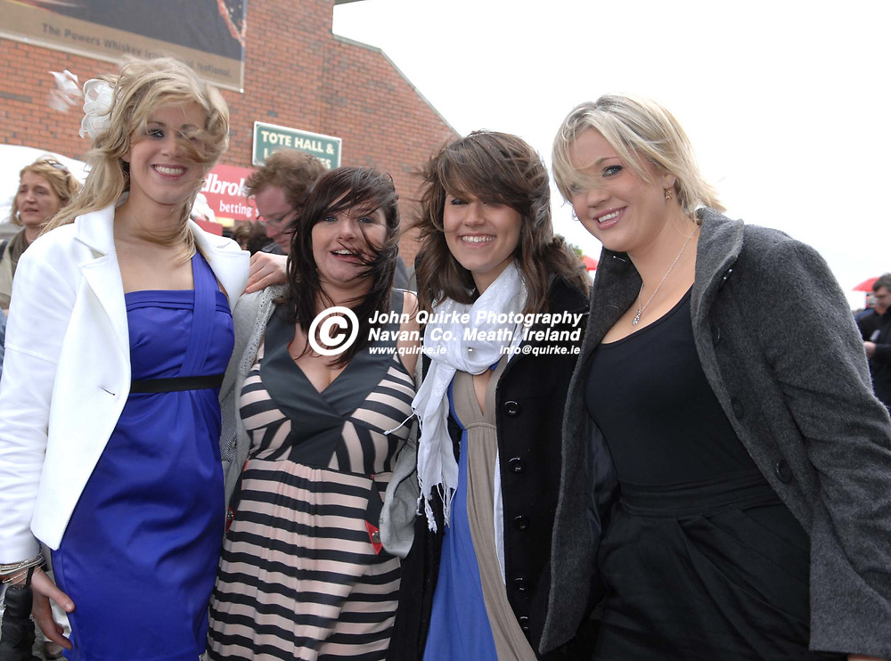 13-04-09. Fairyhouse Races - The Powers Irish Whiskey Irish Grand National.<br /> L to R: Laura Caffrey, Skryne. Claire Duffy, Navan. Vickie Bates, Rathfigh and Claire Caffrey, Skryne.<br /> Photo: John Quirke / www.quirke.ie<br /> ©John Quirke Photography, Unit 17, Blackcastle Shopping Cte.<br /> Navan. Co. Meath. 046-9079044 / 087-2579454.