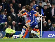 Chelsea's David Luiz tussles with Manchester City's Sergio Agero during the Premier League match at the Stamford Bridge Stadium, London. Picture date: April 5th, 2017. Pic credit should read: David Klein/Sportimage