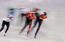 February 17, 2018 - Gangneung, South Korea - Athletes compete during the Ladies Short Track Speed Skating 1500M finals at the PyeongChang 2018 Winter Olympic Games at Gangneung Ice Arena.. (Credit Image: © Paul Kitagaki Jr. via ZUMA Wire)