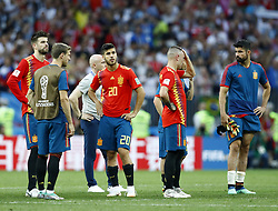 July 1, 2018 - Moscow, Russia - Round of 16 Russia v Spain - FIFA World Cup Russia 2018.Disappointment of Spain players after the penalties shoot out at Luzhniki Stadium in Moscow, Russia on July 1, 2018. (Credit Image: © Matteo Ciambelli/NurPhoto via ZUMA Press)
