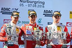 v.l. 2. Platz Mick Schumacher (D), Sieger Thomas Preining (Aut), 3. Platz Juri Vips (Est) beim Formel 4 Rennen auf dem Nürburgring / 070816<br /> <br /> *** ADAC Formula Four championship at Nurburgring on August 7, 2016 in Nurburg, Germany ***