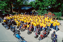 Arlen Ness in with a large group of Hamsters in Spearfish, WY during bike week in the Black Hills. Photograph ©Michael Lichter 1996