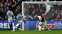 Karlan Grant of Huddersfield Town scores and celebrates - Mandatory by-line: Phil Chaplin/JMP - 16/03/2019 - FOOTBALL - London Stadium - London, England - West Ham United v Huddersfield Town - Premier League