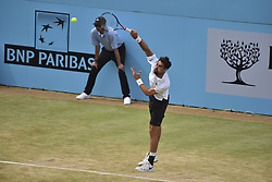 June 23, 2018 - London, England, United Kingdom - Jeremy Chardy of France serves during the semi final singles match on day six of Fever Tree Championships at Queen's Club, London on June 23, 2018. (Credit Image: © Alberto Pezzali/NurPhoto via ZUMA Press)