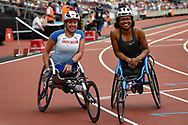 Hannah Cockroft of Great Britain and Kare Adenegan of Great Britain during the Muller Anniversary Games, Day Two, at the London Stadium, London, England on 22 July 2018. Picture by Martin Cole.