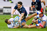 Mattia Bellini (Italy) tackled by Sam Johnson (Scotland) during the Autumn Nations Cup, rugby union Test match between Italy and Scotland on November 14, 2020 at the Artemio Franchi stadium in Florence, Italy - Photo Ettore Griffoni / LM / ProSportsImages / DPPI