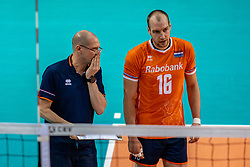 Coach Roberto Piazza of Netherlands, Wouter Ter Maat of Netherlands in action during the CEV Eurovolley 2021 Qualifiers between Croatia and Netherlands at Topsporthall Omnisport on May 16, 2021 in Apeldoorn, Netherlands